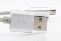 Кабель USB на белой предпосылке Стоковое Фото