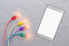 Кабель USB для smartphone на серой предпосылке Стоковая Фотография