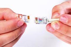 2 кабеля интернета держа в наличии Этапы процесса Стоковое Изображение