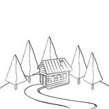 Кабина в древесинах иллюстрация штока