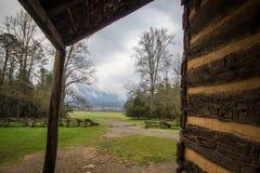 Кабина горы Gatlinburg Теннесси закоптелая с взглядом Стоковые Фото