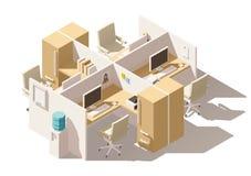 Кабина офиса вектора равновеликая низкая поли иллюстрация вектора