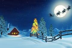 Кабина, рождественская елка и Санта в ландшафте зимы на ноче иллюстрация вектора