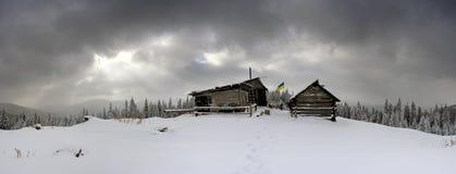 Кабины в зиме Стоковая Фотография