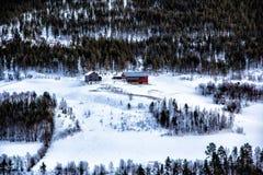 Кабины на горе в Норвегии Стоковые Изображения