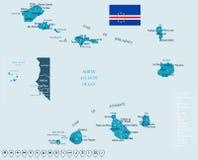 Кабо-Верде - карта и флаг - детальная иллюстрация вектора иллюстрация штока