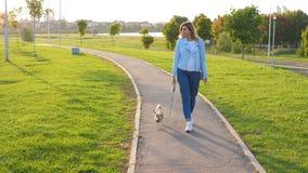 Кавказская женщина идет снаружи с его маленькой собакой на заходе солнца в зеленом парке стоковые изображения rf