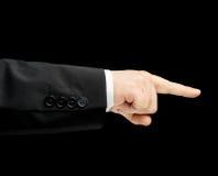 Кавказская мужская рука в изолированном деловом костюме Стоковые Изображения