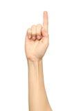 Кавказская рука ` s женщины указывая, касаясь, отжимая или подсчитывая Стоковая Фотография RF