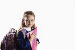 Кавказская элементарная школьница времени с стеклами Стоковые Фото