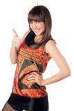 кавказские давая детеныши женщины большого пальца руки стоковые изображения