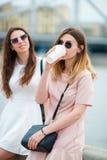 Кавказские девушки наслаждаются мостом предпосылки выходных лета большим Молодые туристские друзья путешествуя на праздниках outd Стоковое Фото
