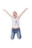 кавказские счастливые детеныши женщины Стоковая Фотография RF