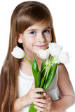 Кавказский Девушк-Малыш с пуком цветков Стоковое Изображение