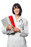Кавказский доктор с скоросшивателями стоковое изображение rf