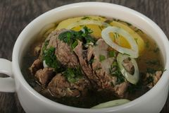 Кавказский суп мяса - Hashlama Стоковые Фотографии RF