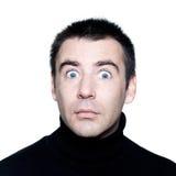 Кавказский человек оглушает удивлено startle портрет стоковые изображения