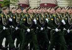 Кадеты ветви Serpukhov военной академии стратегических сил ракеты во время генеральной репетиции парада Стоковое Изображение RF