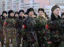 Кадеты корпуса кадета Москвы дипломатического подготавливают для парада 7-ое ноября на красной площади Стоковое Изображение RF