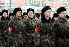 Кадеты корпуса кадета Москвы дипломатического подготавливают для парада 7-ое ноября на красной площади Стоковое Фото