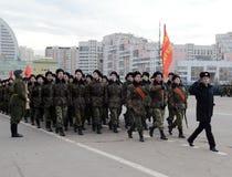 Кадеты корпуса кадета Москвы музыкального подготавливают для парада 7-ого ноября в красной площади Стоковые Изображения