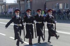Кадеты, кадеты, студенты средней школы, Surgut, Россия - 9-ое мая 2019 стоковое фото rf