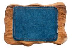 2 кадра джинсовой ткани и древесины с местом для вашего текста Стоковая Фотография RF