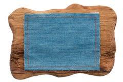 2 кадра джинсовой ткани и древесины с местом для вашего текста Стоковое Изображение RF