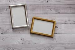 2 кадра для фото на свете, винтажной деревянной предпосылке Стоковая Фотография RF
