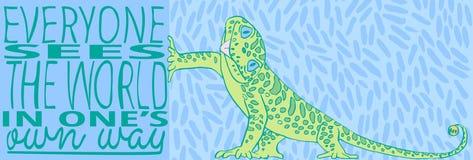 Каждое видит что мир в одном ` s имеет путь Зеленая ящерица в стиле шаржа Плакат литерности Цитата вектора вдохновляющая Стоковое Фото