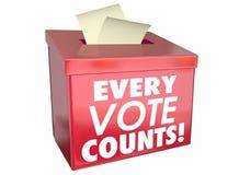 Каждое голосование подсчитывает урну для избирательных бюллетеней дел иллюстрация штока