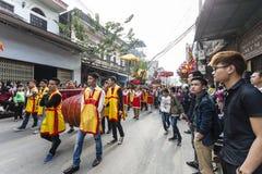 Каждый год, на 4-ый день 1-ого лунного месяца, деревня Дуна Ky проводит фестиваль фейерверка Стоковое Фото