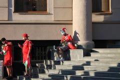 Казань, Россия, 20-ое июня 2018: вентиляторы испанской футбольной команды Стоковые Фотографии RF