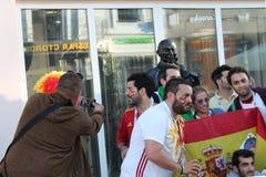 Казань, Россия, 20-ое июня 2018: вентиляторы испанской футбольной команды Стоковая Фотография