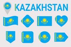 Казахстан, набор вектора флага Различные геометрические формы Плоский стиль Собрание флагов казаха Смогите использовать для спорт иллюстрация вектора