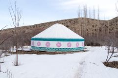 Казах Yurt располагаясь лагерем в зиме Стоковая Фотография