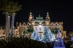Казино в Монте-Карло на рождестве на ноче стоковое фото