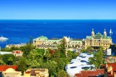 Казино Монте-Карло, золотого квадрата, и моря Стоковое Изображение