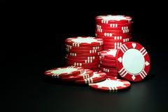казино откалывает красный цвет стоковые фотографии rf