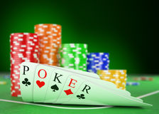 казино 3D aces покер игрока принципиальной схемы двойной иллюстрация вектора