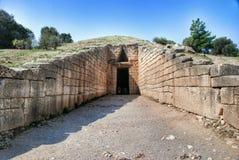 Казначейство усыпальницы Atreus Agamemnon Mycenae Греции стоковое фото