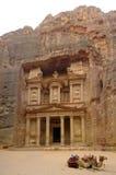 казначейство petra khasneh Иордана фасада Стоковое Изображение
