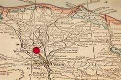 Каир и Египет на винтажной карте Стоковое фото RF