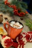 Какао или чашка кофе с вкусными зефирами, ветвью ели и красными ягодами дерева рябины Натюрморт на старое деревенском Стоковое Изображение RF