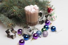 Какао или шоколад с зефирами и украшением chrismas Стоковая Фотография