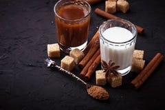 Какао, молоко, сахар и циннамон Стоковые Фото