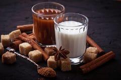 Какао, молоко, сахар и циннамон Стоковое Изображение