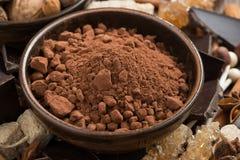 Какао, сахар и специи для горячего шоколада, конца-вверх Стоковая Фотография