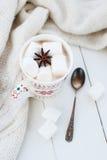 Какао с анисовкой зефира и звезды Стоковое фото RF