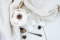 Какао с анисовкой зефира и звезды Стоковое Изображение